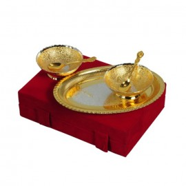 "Silver & Gold Plated Brass Bowl Set 5 Pcs. (Bowls 4"" Diameter & Tray 9.25"" x 6.25"")"