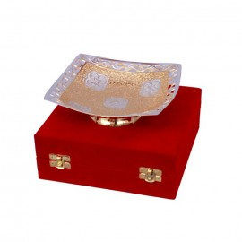 Silver & Gold Plated Brass Square Shape Bowl 6""