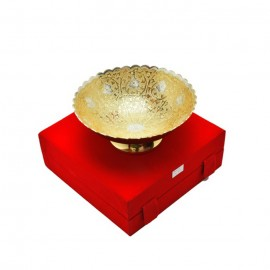 "Silver & Gold Plated Brass Bowl 8"" Diameter"
