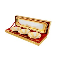 "Silver & Gold Plated Flower Shape Brass Bowl Set 7 Pcs. (Bowls 4'' Diameter & Tray 13"" x 5.5"")"