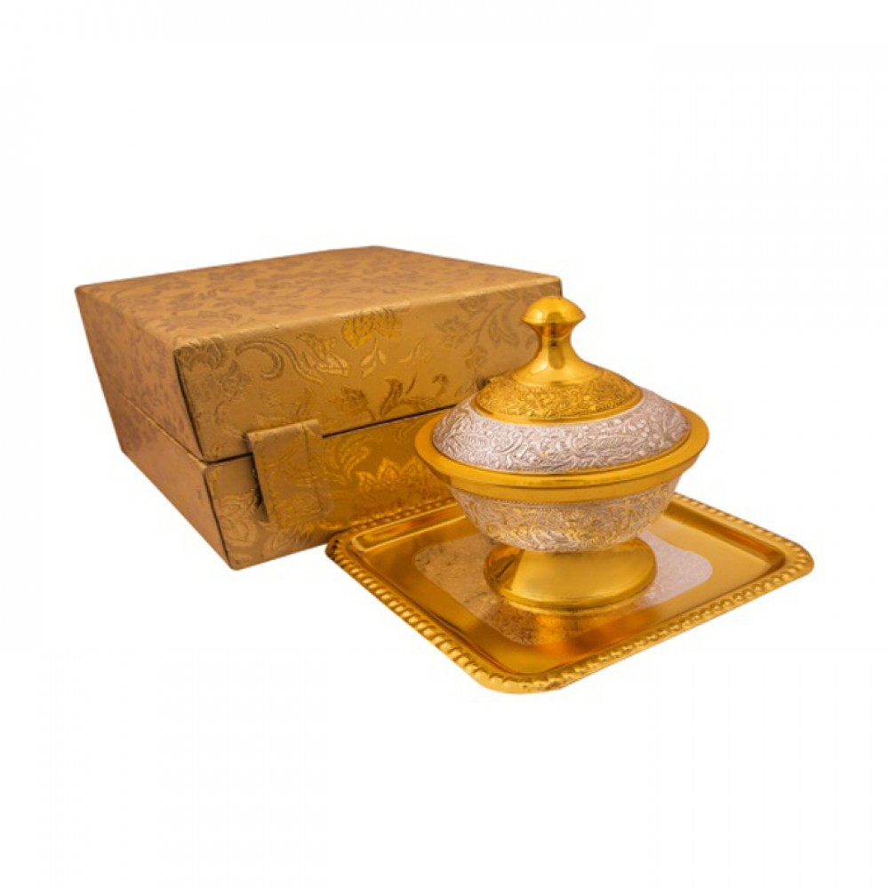 "Silver & Gold Plated Brass Mouthfreshner Set (Bowl 4"" Diameter, H - 3"" & 6'' & Tray 6'' x 6'')"