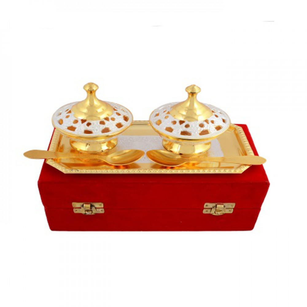"Silver & Gold Plated Brass Mouthfreshner Set 5 Pcs. (Bowl 3.25"" Diameter & Tray 8'' x 4.25'')"