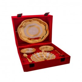 Silver & Gold Plated Brass Swan Bowls Set 7 Pcs