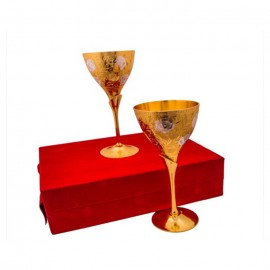 Silver & Gold Plated Brass Glass Set (8.5'' x 3.25'')
