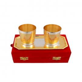 "Silver & Gold Plated Glass Set 3 Pcs. (Glass 2.5"" x 3.5"" & Tray 9.5"" x 5.5"")"