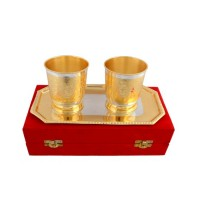 "Silver & Gold Plated Water Glass Set (Glass 2.75"" x 4"" & Tray 9.5"" x 5.5"")"