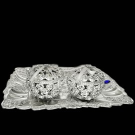 Decorative Tray Set (Silver Colour)