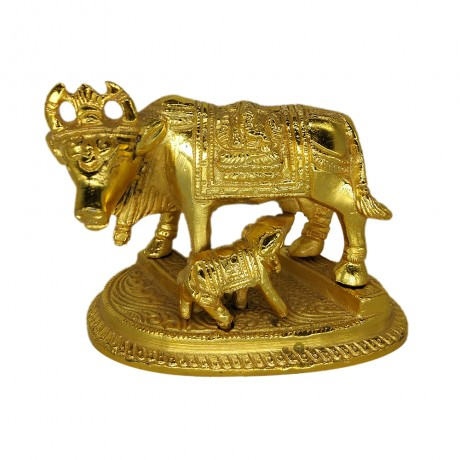 Cow With Calf Brass Idol