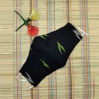 Ikkat & Handloom Cotton Masks (Black Colour)