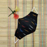 Ikkat & Handloom Cotton Mask (Black Colour)