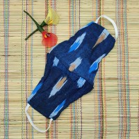 Ikkat & Handloom Cotton Masks (Blue Colour)