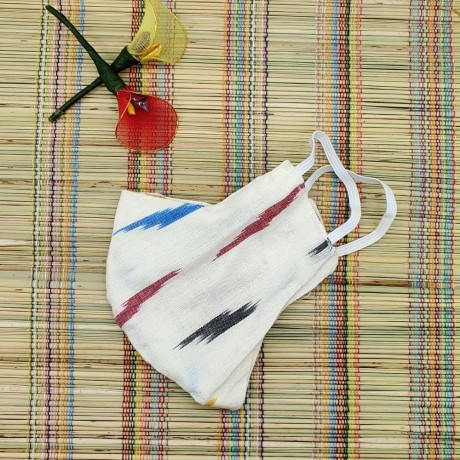Ikkat & Handloom Cotton Masks (White Colour)