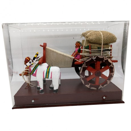 Bullock Cart Carrying Harvest With Acrylic Box